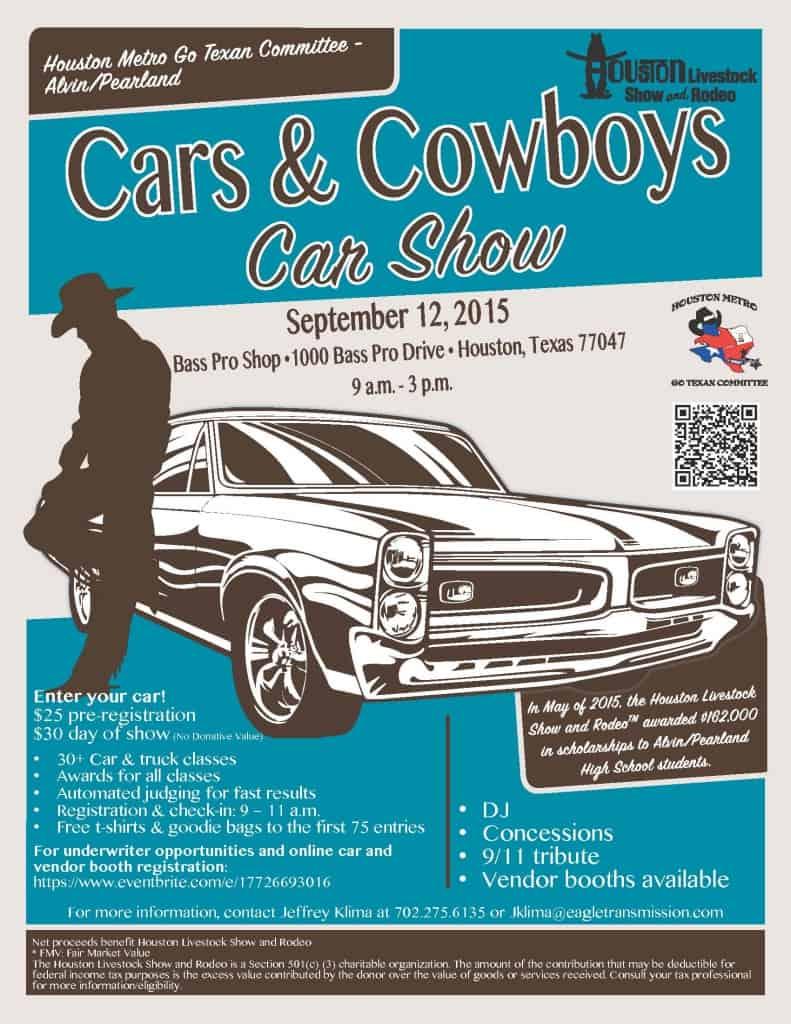 AlvinPearland Cars Cowboys Car Show Revs Up September - Bass pro car show