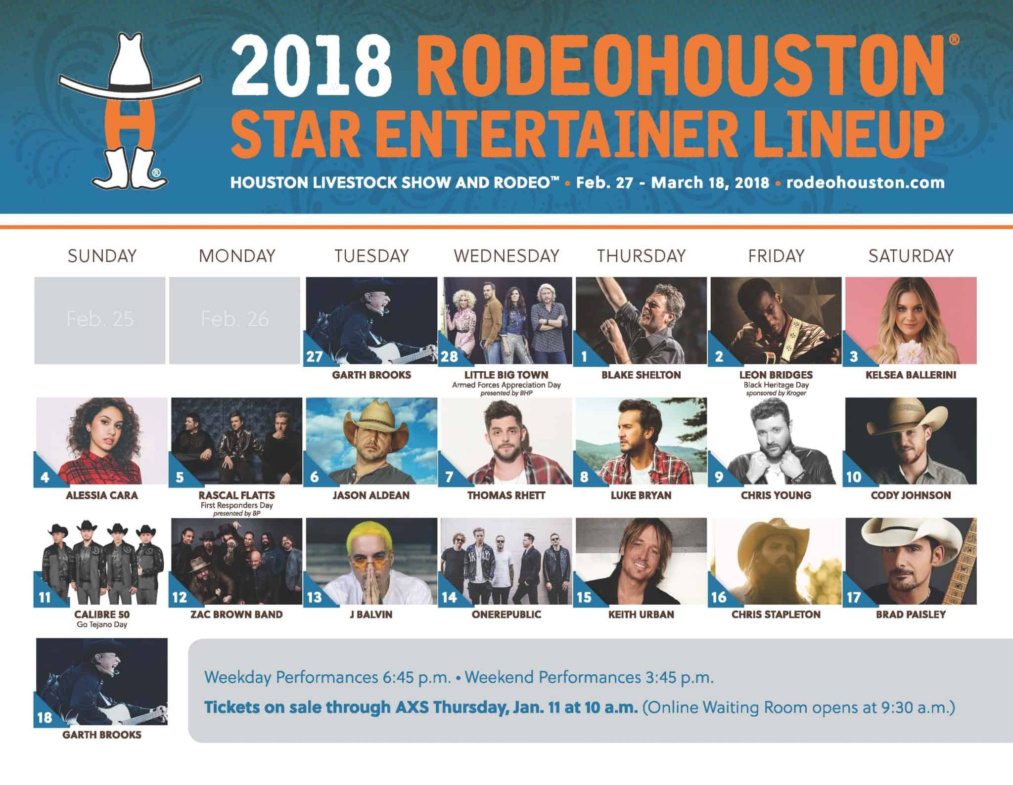 Rodeo Houston Entertainment 2018 Lineup Pearland Texas