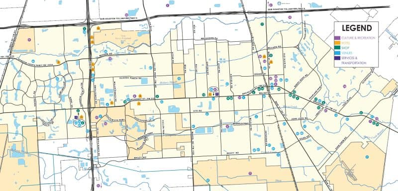 Pearland Visitor Map of Venues