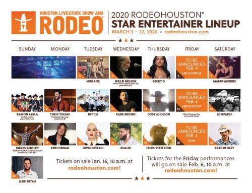 Rodeo Houston's 2020 Official Concert Lineup Announced